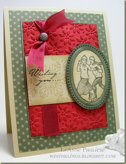 Stampin' Up! Winter Post stamp set and great use of Petals A Plenty and Designer Frames Embossing Folders...great looking card!