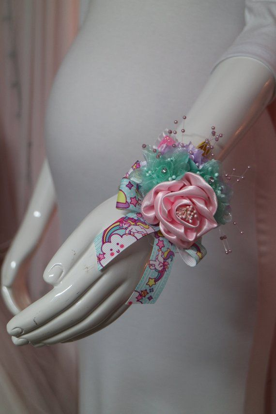 Unicorn Baby Shower Mommy To Be Floral Wrist Corsage Unicorn
