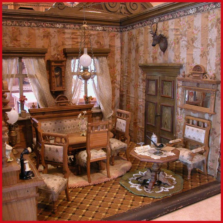 """Deluxe German Wooden Dollhouse Double Room Box from the Museum at Davos Switzerland 1890s Large 1"""" Scale"""