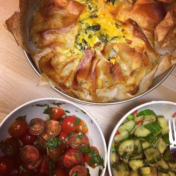 Recept: filotaart met spinazie & feta van Jamie Oliver