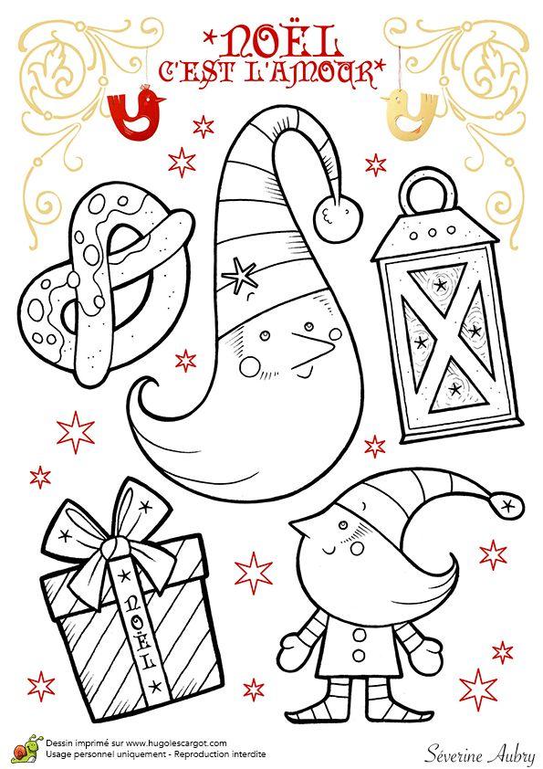 Dessin à colorier des lutins du père Noël - Hugolescargot.com
