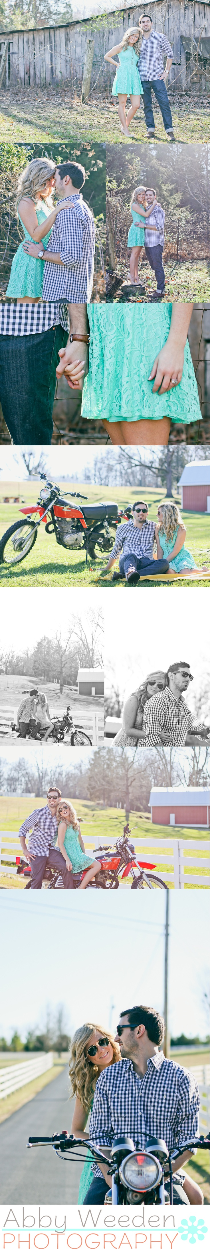 Tennessee photographer. Couple photography with motorcycle. Abby Weeden Photography.