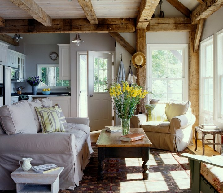 Timber Frame Homes, Timber Frames, Small Cabin Interiors, House Interiors,  Cottage Living Rooms, Open Living Rooms, Living Room Kitchen, Living  Spaces, ...
