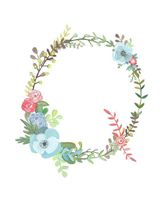 Q Floral Letter Illustration Floral Typography by Makewells