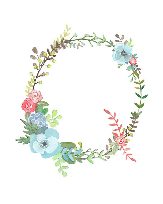 Q Floral Letter Illustration Floral Typography by Makewells