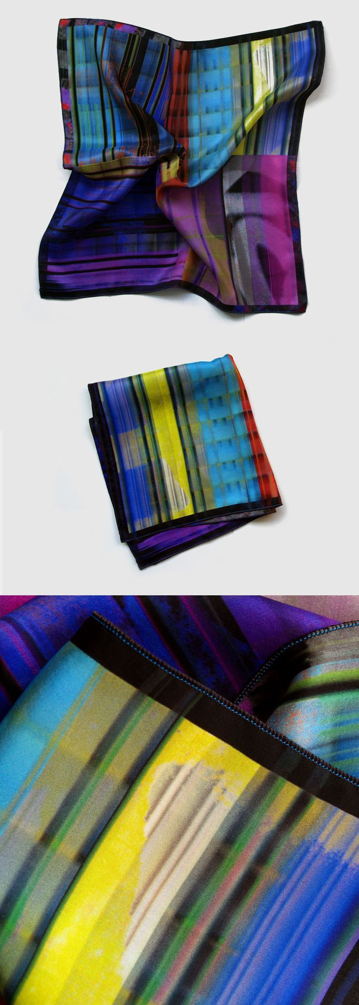 Men's pocket square. Colourful printed silk handkerchief by Ima Pico on Etsy