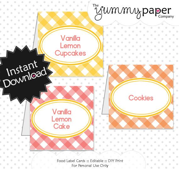 Editable Summer Gingham Party Food Labels Instant by yummypaper