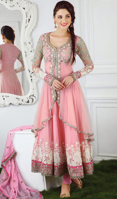 Majesty Rose Pink Chudidar Kameez Price: Usa Dollar $189, British UK Pound £111, Euro138, Canada CA$ 202, Indian Rs10206.