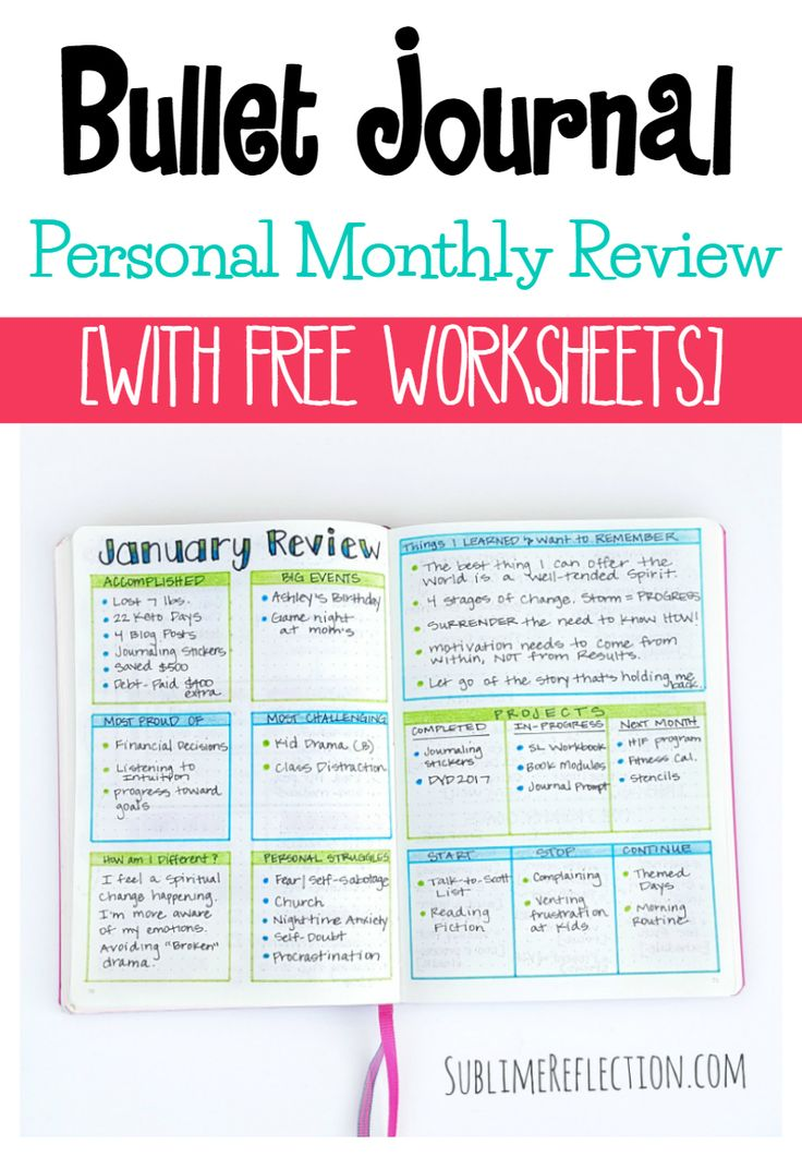 Fancy How to conduct a personal monthly review in your bullet journal via kimberlyjob