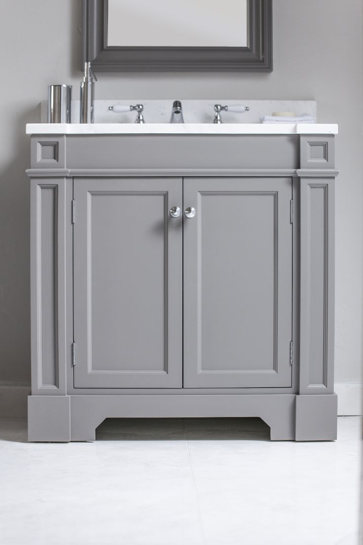 Roxford single Vanity Unit Painted in Farrow and Ball Moles Breath with Crystal White Marble Top. Feathered edge detail. www.portervanities.com