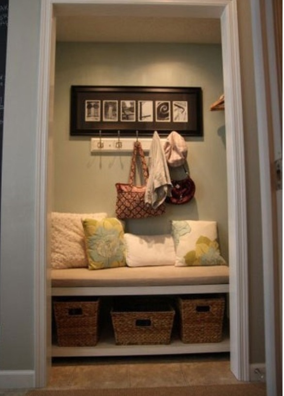 Would like to do this to our hall closet. Convert closet into mud room