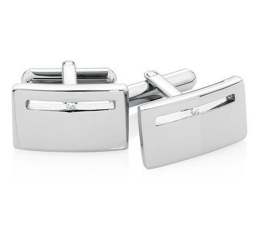 Michael Hill for Father's Day - Men's Diamond Set Cuff Links in Stainless Steel, $319