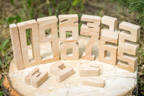 Math wooden game, Organic plywood toy, number constructor, building number blocks