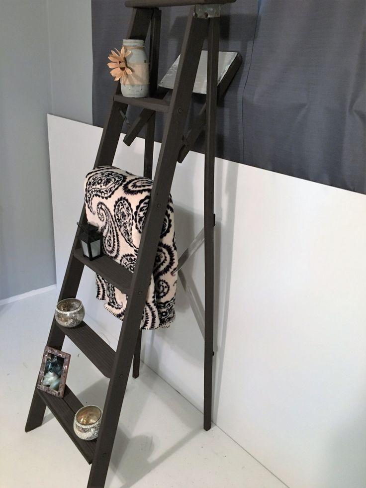 decorative ladder, vintage wood ladder, tall ladder by SuburbanFurnishings on Etsy