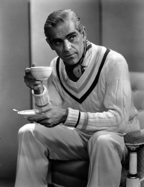 Boris Karloff, fashion plate - I love the sweater!