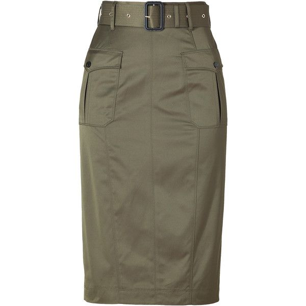 BURBERRY LONDON Aniseed Green Belted Cotton-Blend Pencil Skirt ($505) ❤ liked on Polyvore