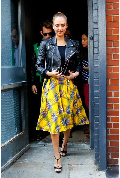 love the plaid midi skirt with the leather moto jacket!