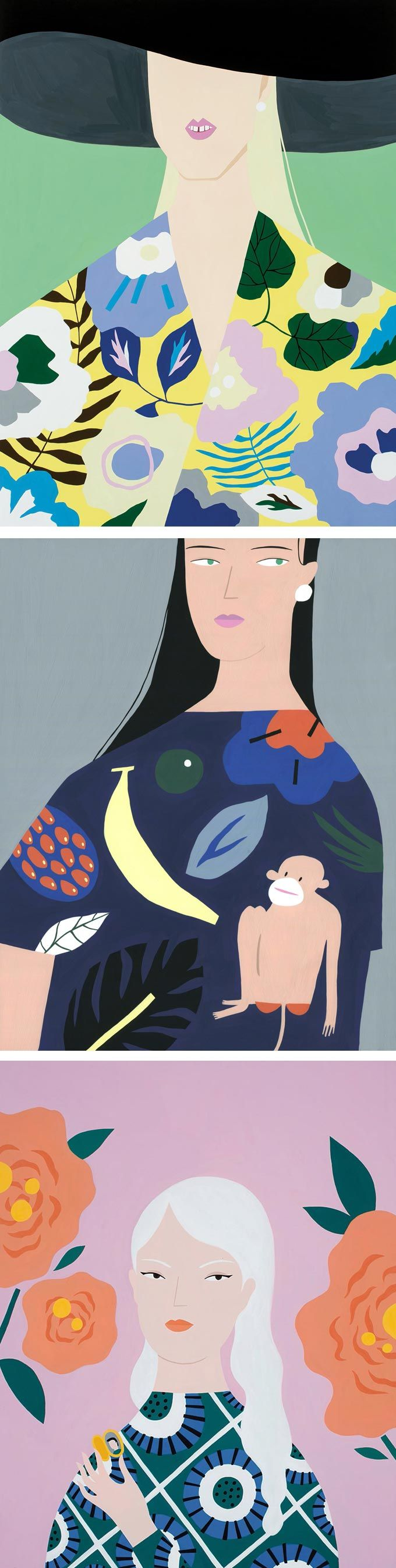 Well-traveled illustrator Ayumi Takahashi spends a month out of the year learning about other cultures. This influences her colorful portraits.