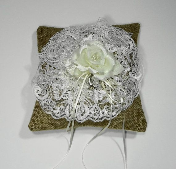 Ring Bearer Burlap and Lace Pillow, Shabby Chic Pillow Rustic/Vintage Shabby chic wedding ...