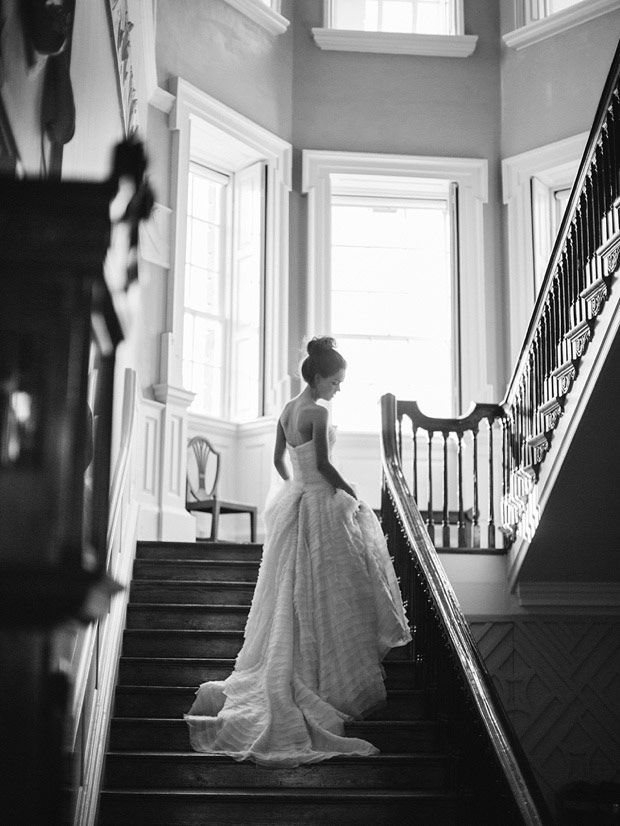 stunning bridal portrait! Strapless wedding dress with ruffle detail | www.onefabday.com