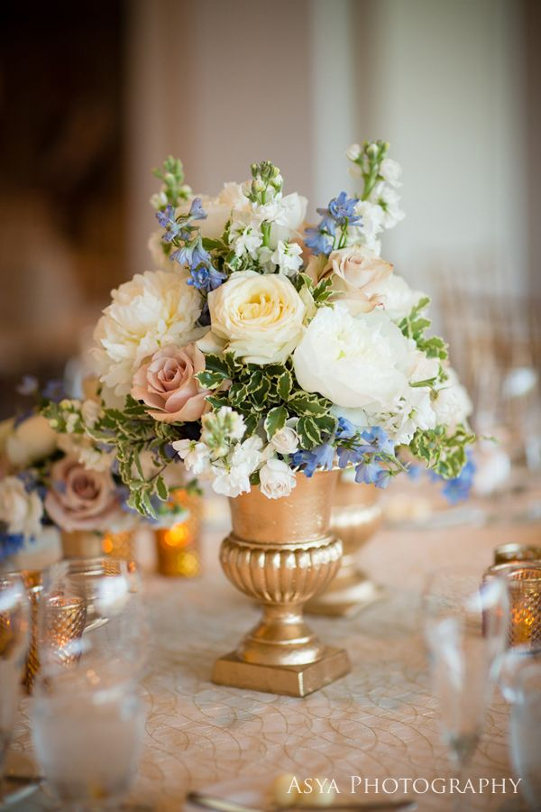 """A Touch of Blue"" wedding - Beautiful Blooms Asya Photography Philadelphia Cricket Club Gold Urns White Ivory Champagne Light Blue"