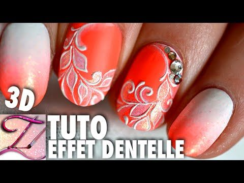 Tuto nail art dentelle fine en relief, idée ongles courts - YouTube