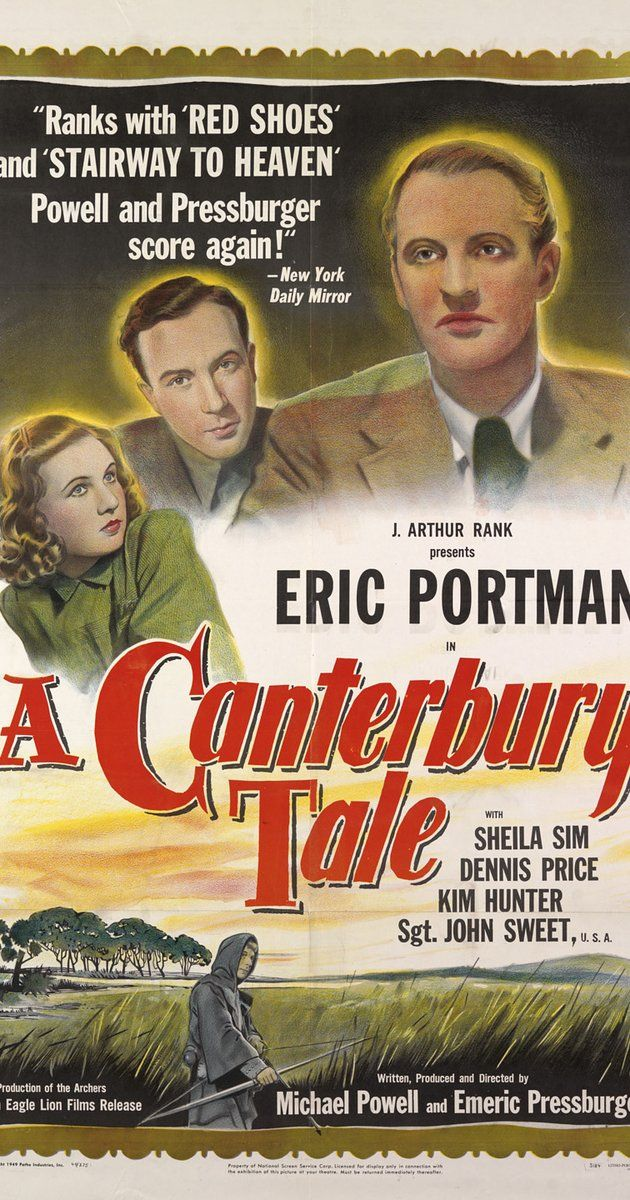 "Directed by Michael Powell, Emeric Pressburger.  With Eric Portman, Sheila Sim, Dennis Price, John Sweet. A 'Land Girl', an American GI, and a British soldier find themselves together in a small Kent town on the road to Canterbury. The town is being plagued by a mysterious ""glue-man"", who pours glue on the hair of girls dating soldiers after dark. The three attempt to track him down, and begin to have suspicions of the local magistrate, an eccentric figure with a strange, my..."