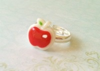 Gifts for Girls : Red Apple Adjustable Ring xo
