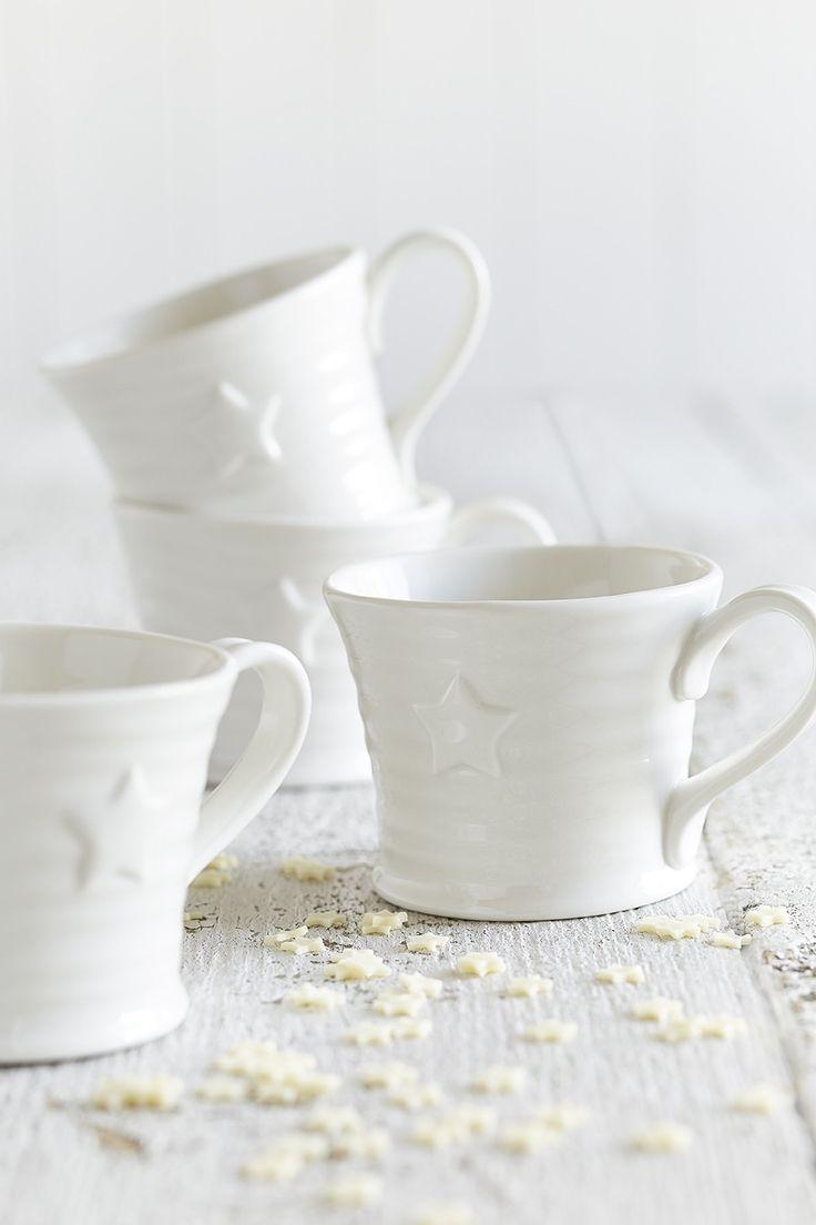 White Ceramic Embossed Star Mug - Set of Four