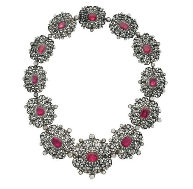 A ruby, diamond, and silver-topped gold necklace, circa 19th century.