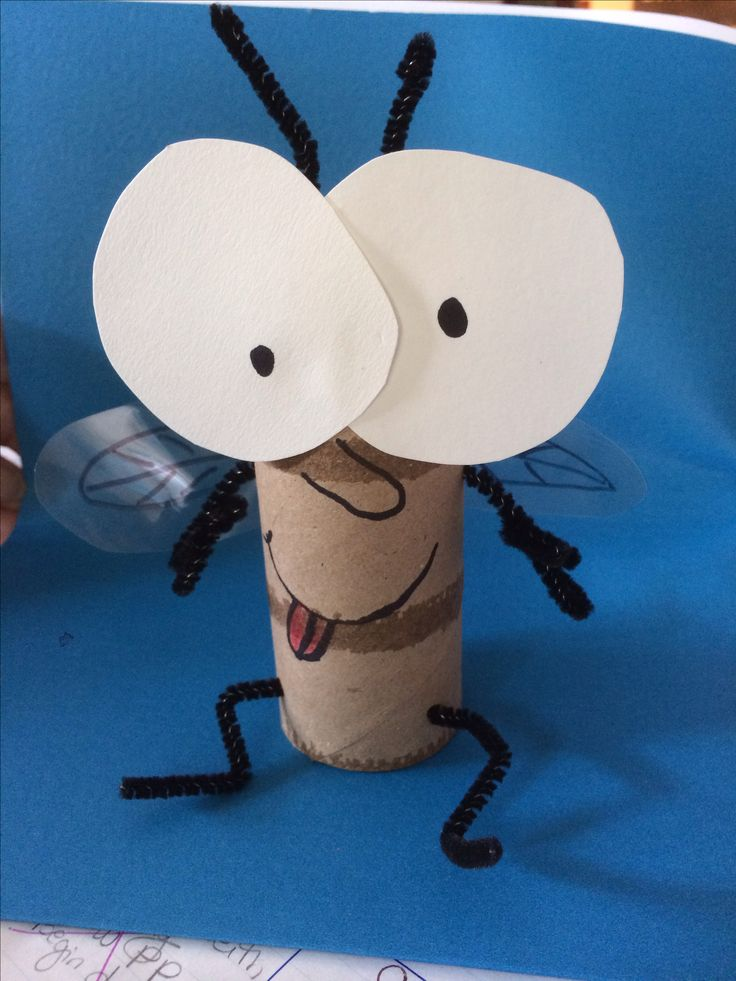 Fly Guy craft.  We could do this as a paper bag puppet rather than a toilet paper tube.