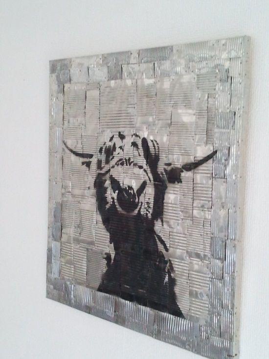 """Blechbild Motiv """"Highland Cattle"""" aus alten Konservendosen (Größe 50x50 cm)"""