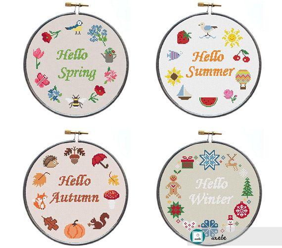 Set of 4 Hello 4 seasons cross stitch pattern modern cross