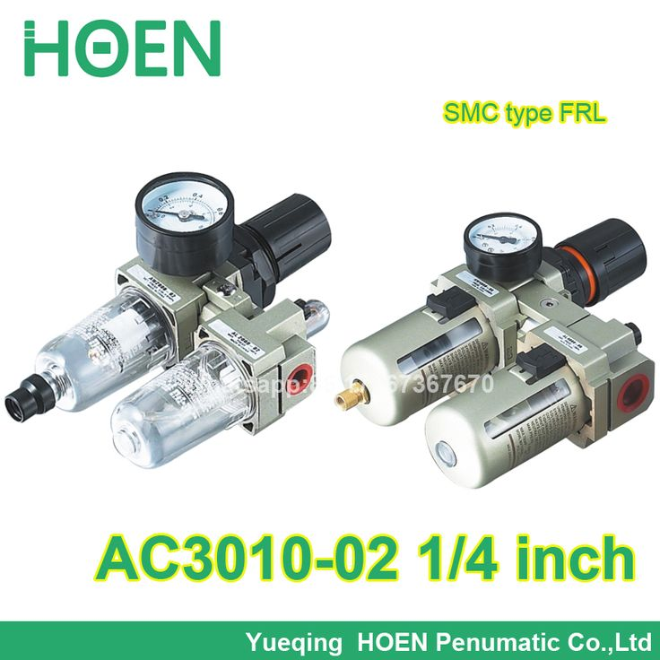 "AC3010-02 1/4"" port size SMC type FRL combination air filter pressure regulator and lubricator with manual drain"