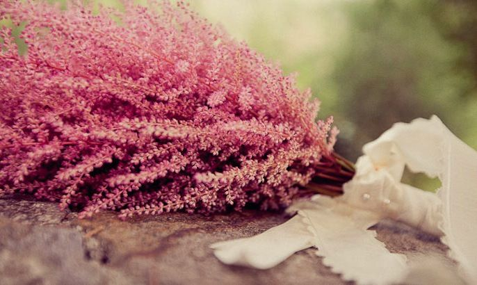 Pink Astilbe bouquet- love the texture and length of this flower, especially for a bridal bouquet! #wedding #bride #bouquet #pink #astilbe