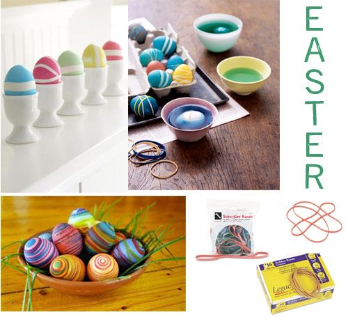 Rubber bands as an egg dying tools