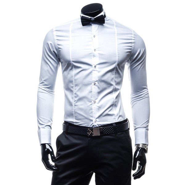 Trendy Shirt Collar Classic Solid Color Slimming Long Sleeve Polyester Formal Shirt For Men(with Tie) #shoes, #jewelry, #women, #men, #hats, #watches