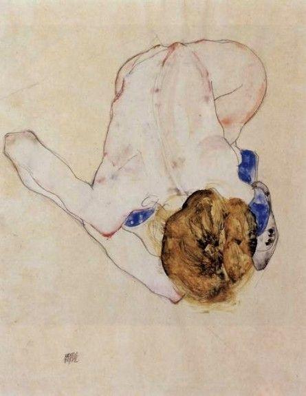 """Egon SCHIELE  (1890-1918) Egon Schiele """"Jeune fille pliée en avant aux bas bleus """" 1912 - Crayon et aquarelle sur papier"""
