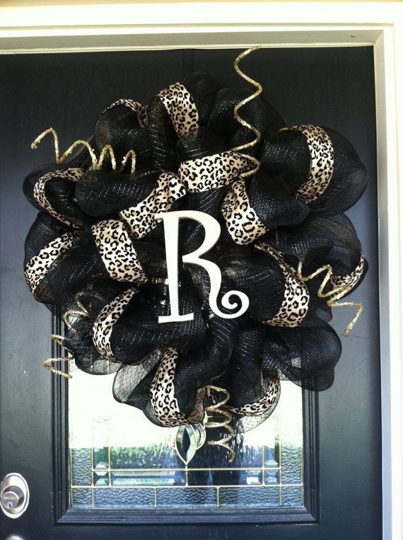Deco Mesh Animal Cheetah Print Wreath by RIBBONSnWREATHS on Etsy, $65.00