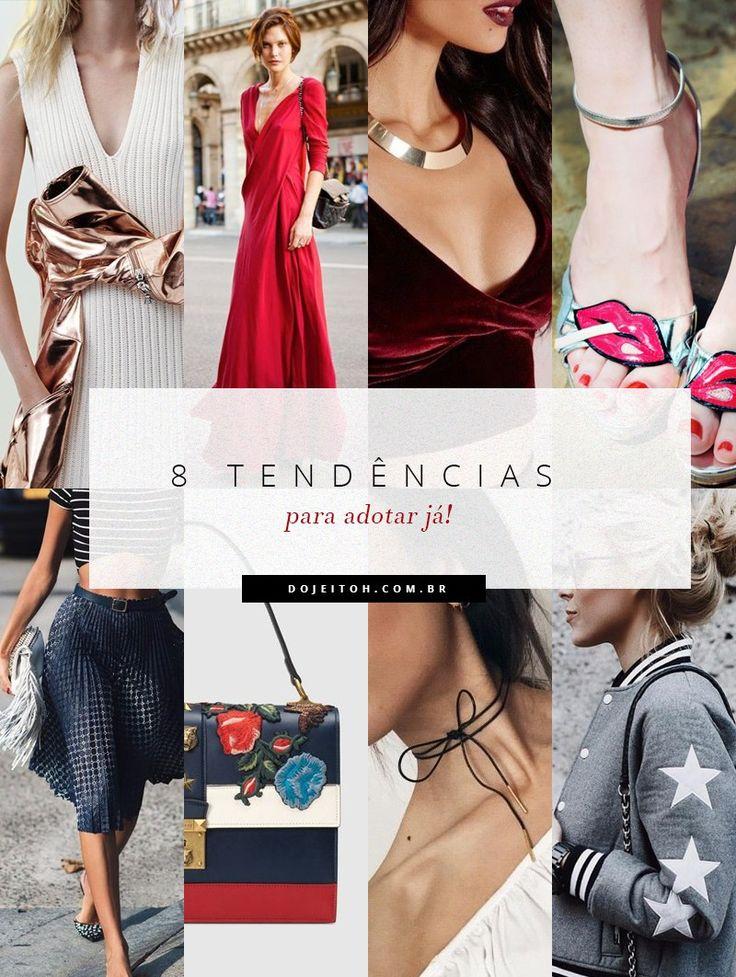 Confira algumas tendências de moda para você adotar já, como elementos metalizados, a cor framboesa, veludo, sapatos adornados, gargantilhas e mais.