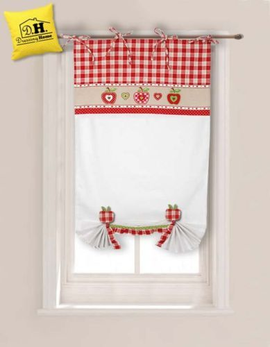 Tenda finestra con due embrasse Angelica Home & Country Collezione Mele 60 x 160