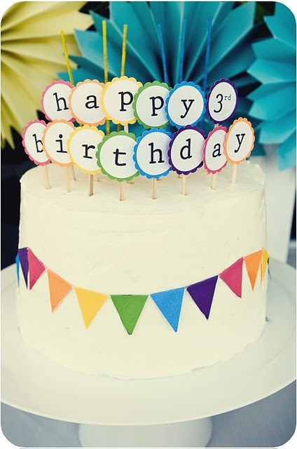 Colorful birthday circles cake topper and bunting