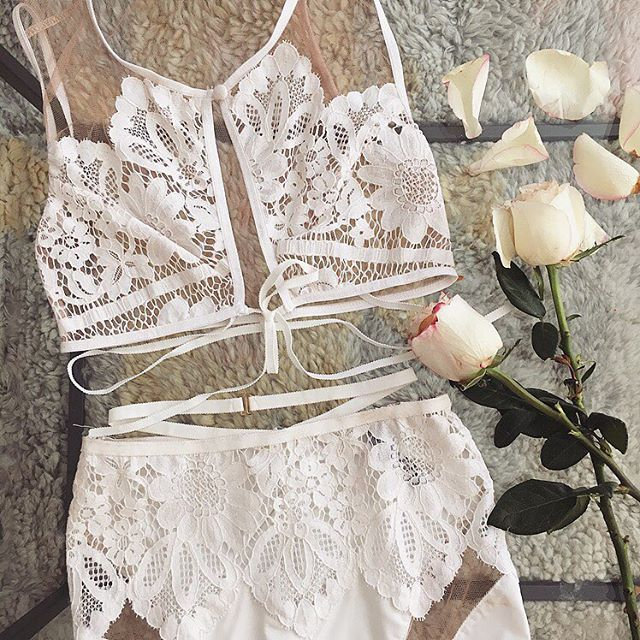 Morning whites ☁️ Shop Ruby Bra and Panty Set with link in bio. #ForLoveAndLemons #DownToYourSKIVVIES