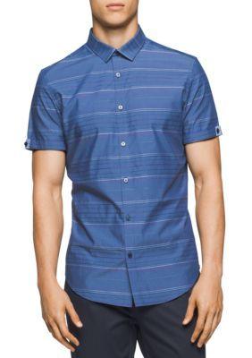 Calvin Klein Men's Short Sleeve Wide Horizontal Stripe Shirt - Luxe - 2Xl