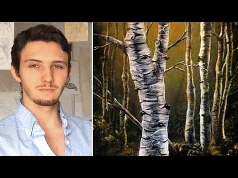 How to paint birch trees, branches and bark! A basic speed painting tutorial of a birch tree - YouTube