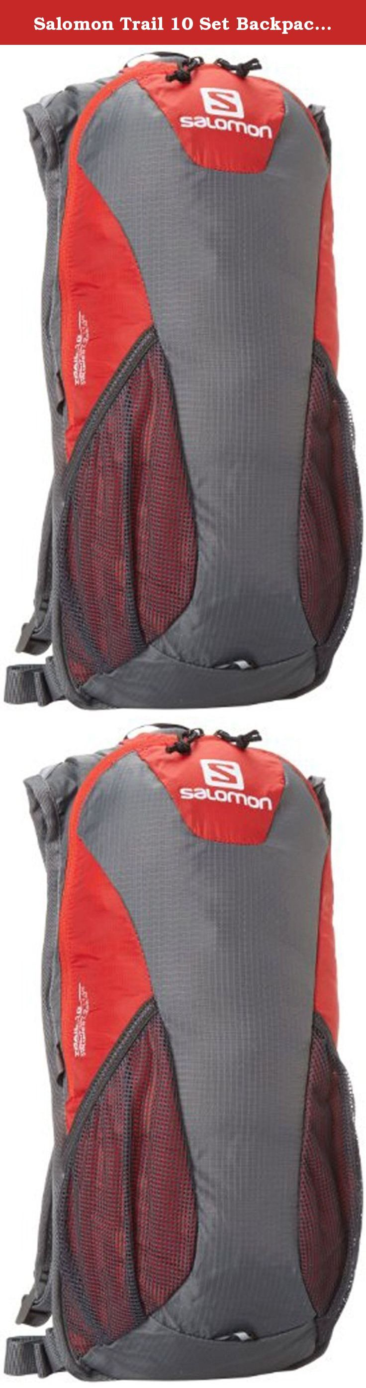 Salomon Trail 10 Set Backpack, Red/Grey, One Size. Lightweight 10L pack designed to carry essentials for an active short hike, quick run, or a stroll around town.