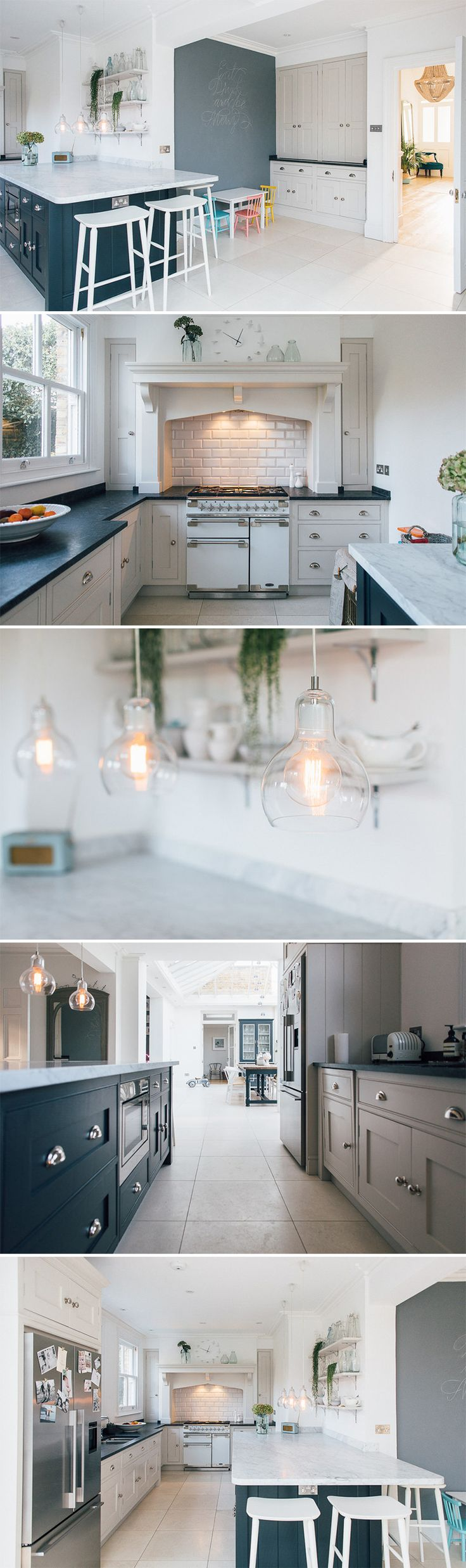 Timeless Classic Kitchen Painted In Farrow And Ball Railings And Slate Iii | Marble kitchen worktops | kitchen bar stools | chalkboard wall in kitchen | kids dining area in kitchen | kitchen lighting ideas | Glass pendant kitchen lights | open shelving ideas for a kitchen |
