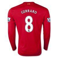 15-16 Liverpool Football Shirt Cheap GERRARD #8 Long Sleeve Home Replica Jersey [C211]