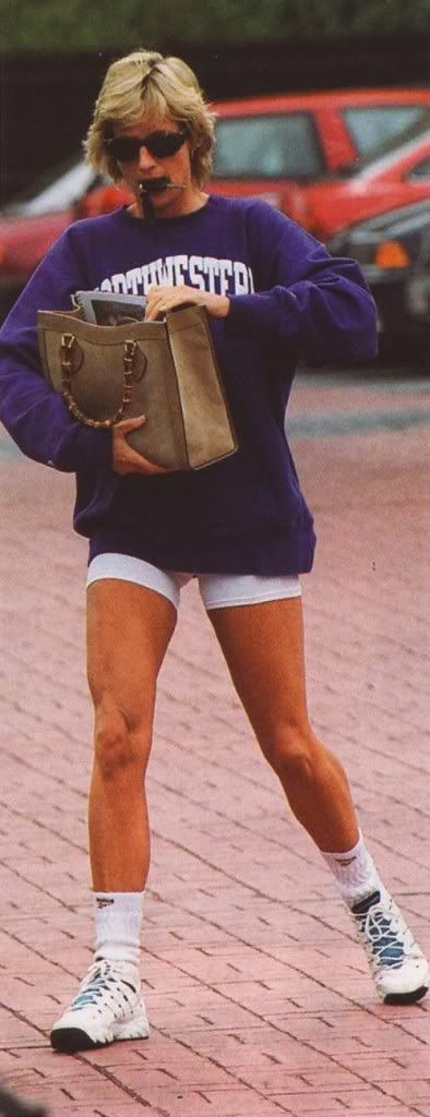 Princess Diana this is the type of princess I would be. pratical, down to earth/ love the Northwestern sweatshirt