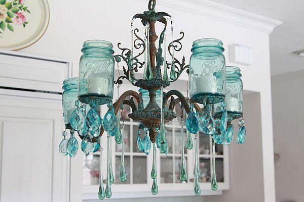 Turquoise Mason Jar Chandelier